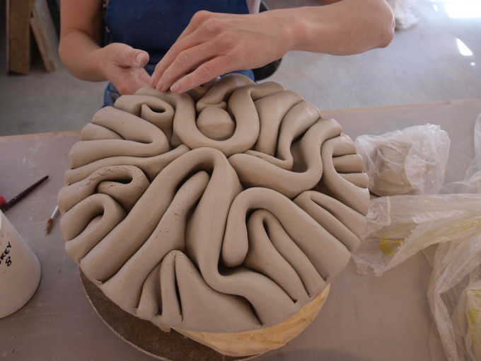 A ceramic sculpture by Stephanie Craig in progress.