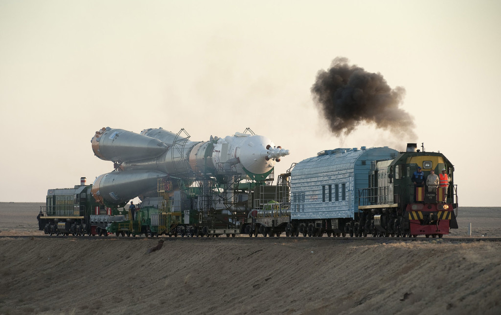 Soyuz TMA-16 launch vehicle being transported to launchpad at Baikonur