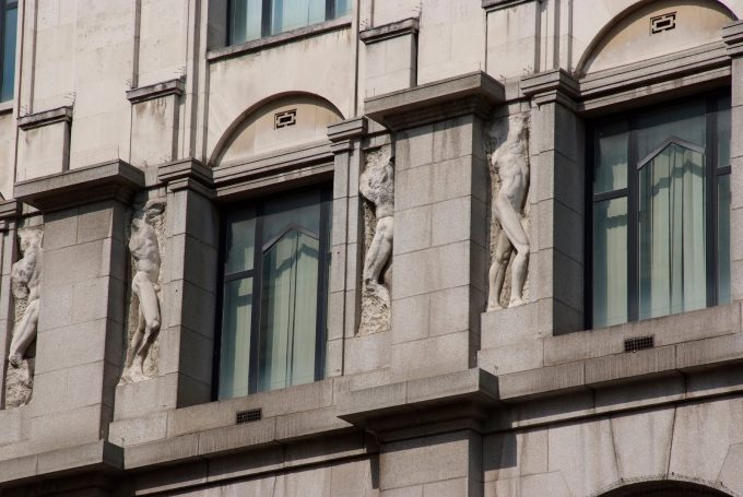 Jacob Epstein Mutilated Sculptures - The facade of the British Medical Association 19081