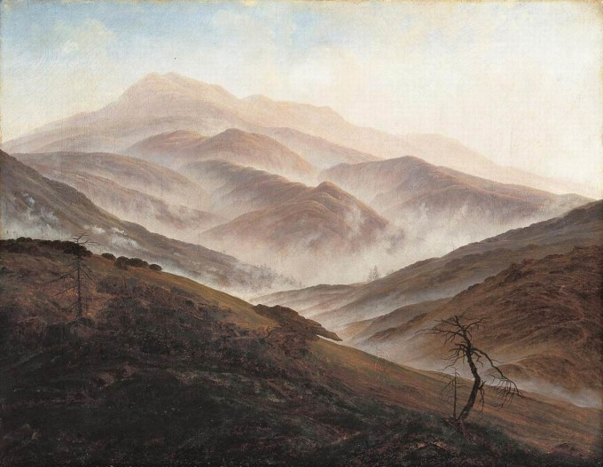Caspar David Friedrich - theredlist. A morning hillside with mist and fog rising
