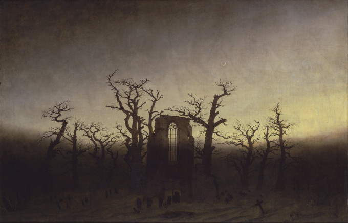 Caspar David Friedrich - Abtei im Eichwald. A painting of a crumbled gothic church window surrounded by baren trees and a graveyard in the mist.