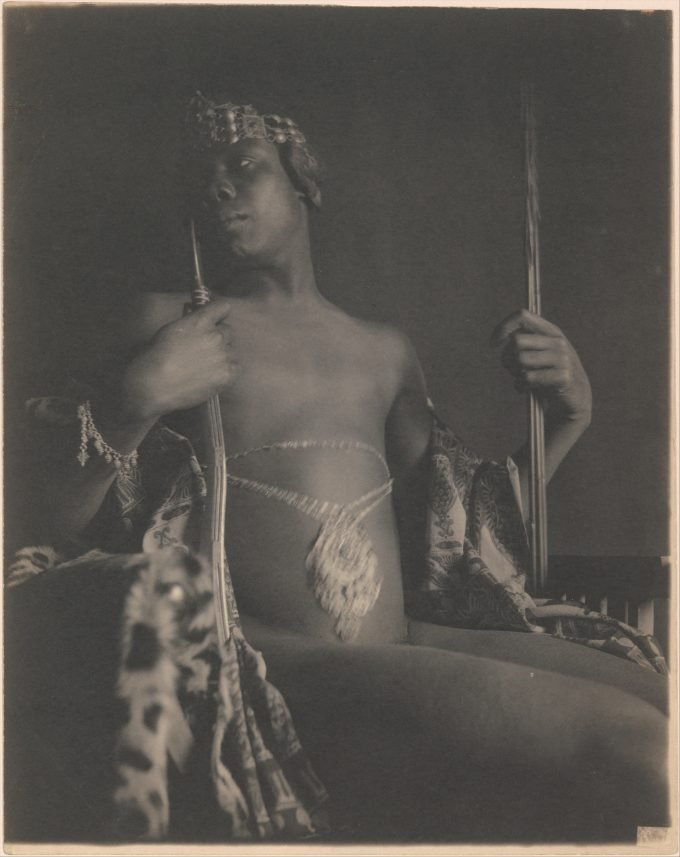 A platinum print by F. Holland Day depicting a nude classical image of Menelek, founder of Ethiopia and became its first emperor in the tenth century B.C