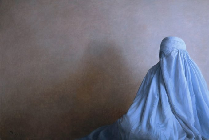 Guillermo Muñoz Vera - Oil on Cancas On Panel - Burqa, 2002
