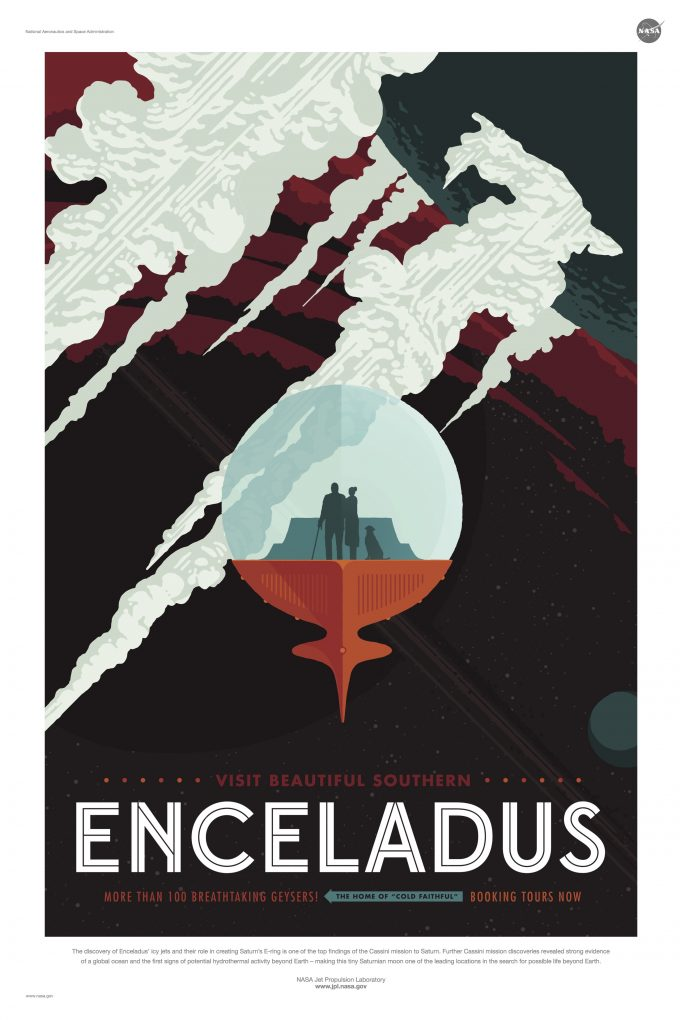 NASA Jet Propulsion Laboratory - Visions Of The Future poster - enceladus