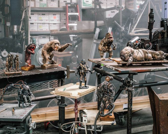 Each of Mad God's animated puppets is built around an articulated, metal skeleton that allows it to be moved in tiny increments. The film's protagonist, the Assassin, is at the center.