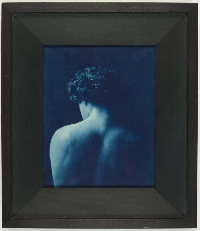 """Go to next slide John Dugdale's """"Stillness of Spirit"""" from 1996, in the exhibition """"Cyanotypes: Photography's Blue Period"""" at the Worcester Art Museum"""