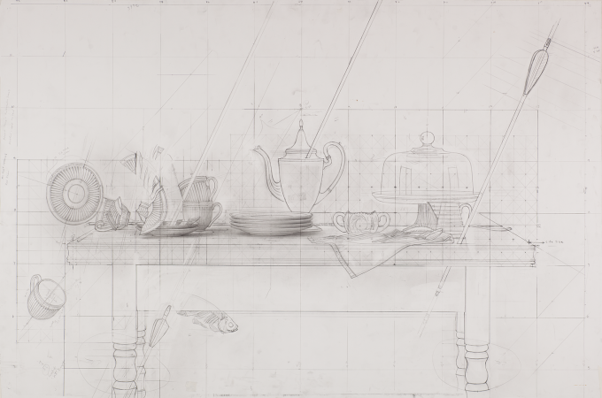 Drawing by Scott Fraser - Tabletop prestudy Graphite on paper