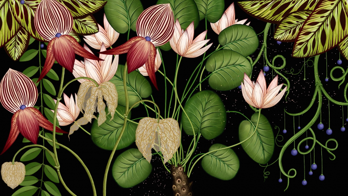 A detailed still from Publicis Botanical, showing the transformation over time.