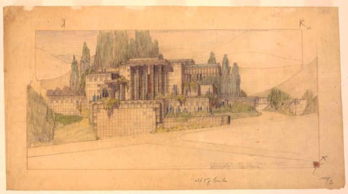 An Architectural Drawing of one of Frank Lloyd Wright's Textile Houses