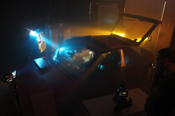 slice of life short film full scale cop car set with lighting