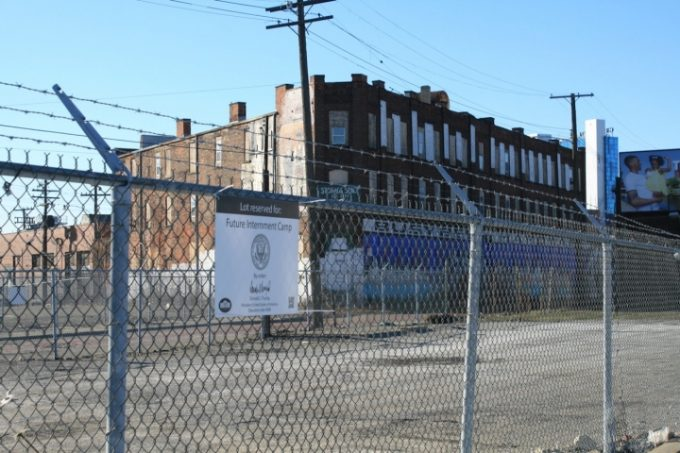 Internment camp sign in Detroit at Gratiot and Russell Streets