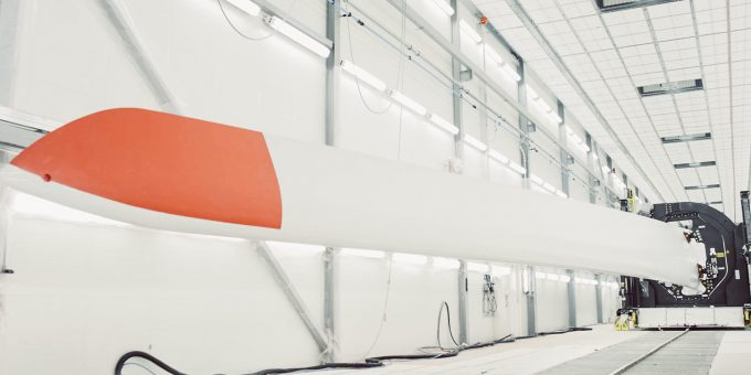 Wind turbine blade manufacturing in Siemens factory