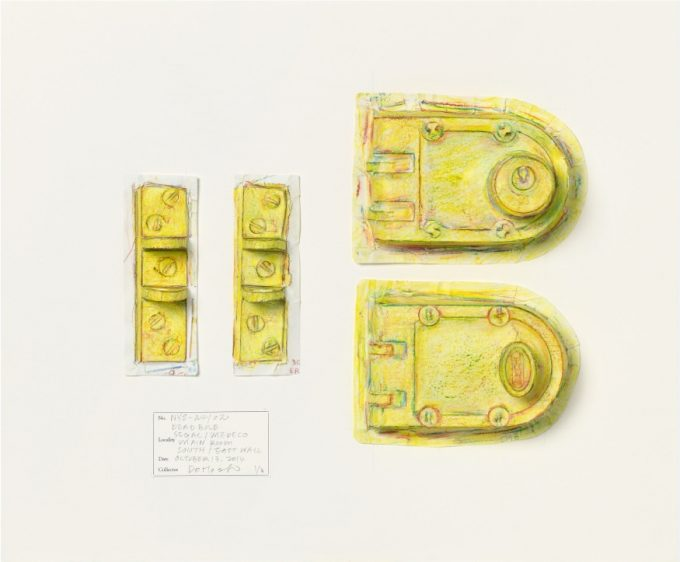 From Do Ho Suh - Rubbing\Loving Project - a rubbing of his apartment Deadbolt