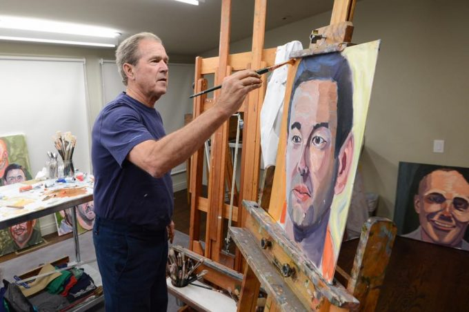 George W. Bush Painting at an easel