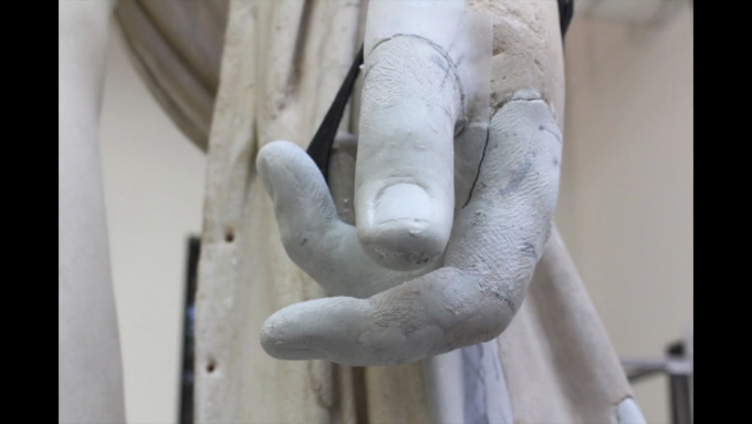 The restored hand of Lansdowne Hermes before final painting