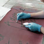 solvent testing on sample before conservation of Mark Rothko's Black on Maroon