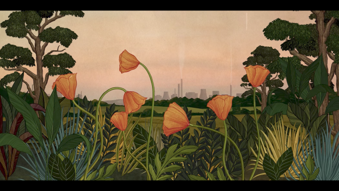 Still frame from Azuma Makoto Story of Flowers depicting a field of California poppies set against a rainy industrial background