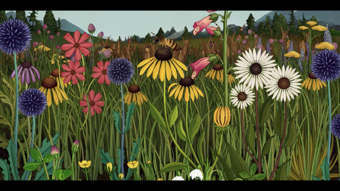Still frame from Azuma Makoto Story of Flowers showing a field of wildflowers being pollinated by bees