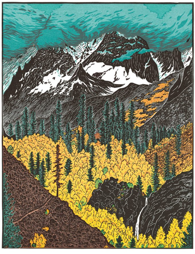 Tom Killion' Horse Creek Trail, Hoover Wilderness multi-block woodcut