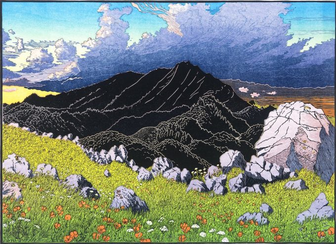 Tom Killion's Mt. Tamalpais from Ring Mountain multi-block woodcut