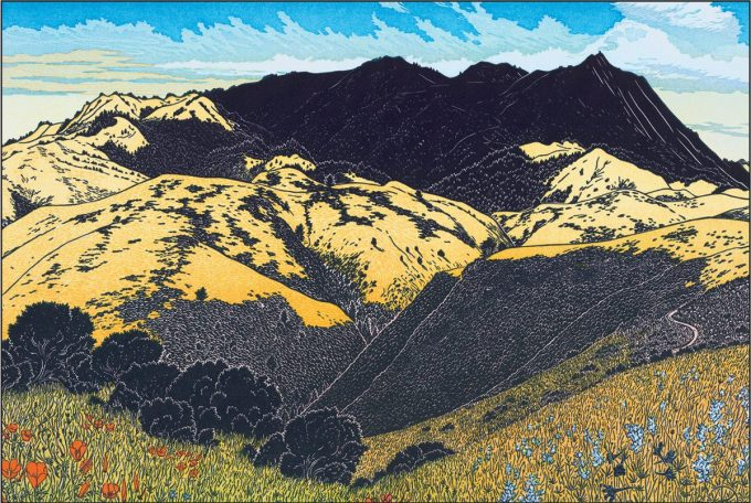 Tom Killion's Mt. Tamalpais from above Green Gulch Multi-block wood cut
