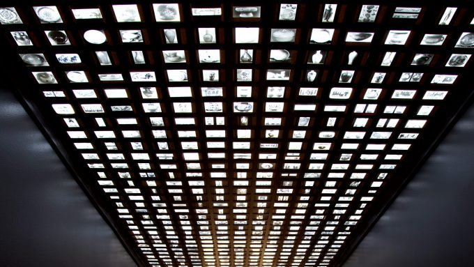 Installation of Glass negatives in a ceiling by Theaster Gates