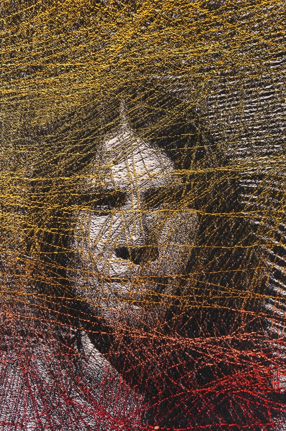Inner Tracts by Lia Cook. A woven portrait overlayen with nurological patterns.
