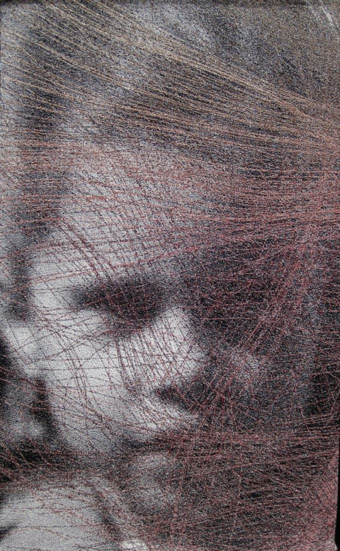Tracts Past by Lia Cook. A woven portrait overlayen with nurological patterns.